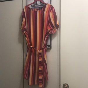 multicoloured striped mini dress